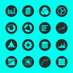 Chart and Graph Icons - Black Circle Series
