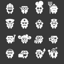 Emoticons Set 4 - White Series | EPS10
