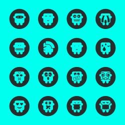 Emoticons Set 4 - Black Circle Series