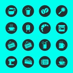 Coffee Shop Icons - Black Circle Series