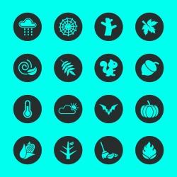 Autumn Season Icons - Black Circle Series