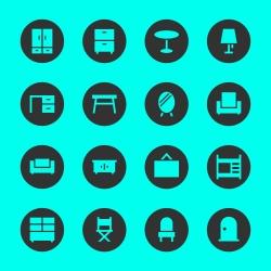 Furniture Icon - Black Circle Series
