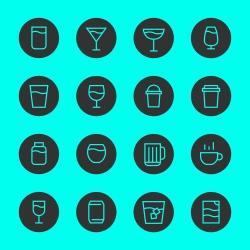 Drink Icon Set 1 - Black Circle Line Series