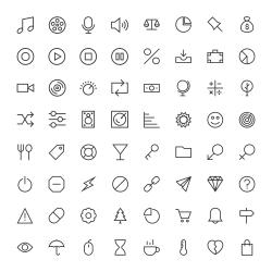 Basic Icon 64 Icons Set 2 - Line Series