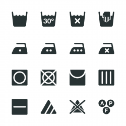 Laundry Sign Silhouette Icons | Set 1