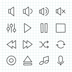 Music Control Icon - Hand Drawn Series