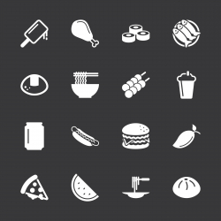 Lunch Icons - White Series | EPS10