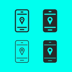 GPS on Mobilephone Icon
