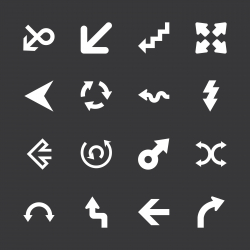 Arrow Sign Icons - White Series | EPS10