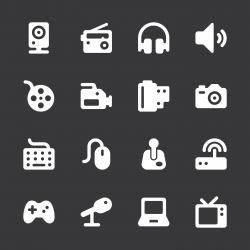 Media Icons - White Series | EPS10