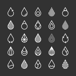 Water Drop Icon - White Line Series