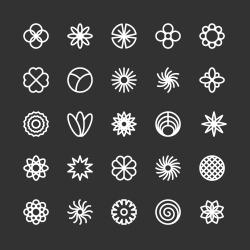 Flower Icon - White Line Series