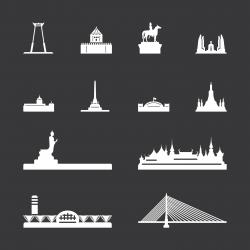 Landmark of Thailand Icons - White Series   EPS10