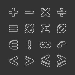 Mathematics Icon - White Line Series