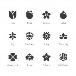Flower Icon - Gray Series