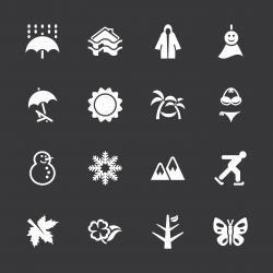 All Season Icons Set 1 - White Series | EPS10