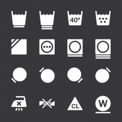 Laundry Sign Icons Set 2 - White Series | EPS10