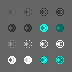 Euro Coin Icon - Multi Series