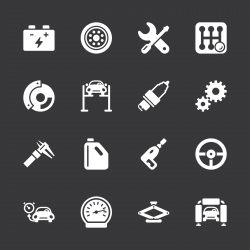 Auto Service Icons - White Series | EPS10