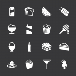 Food and Drink Icons Set 3 - White Series | EPS10