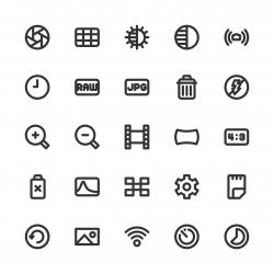 Camera Function Icon Set 2 - Bold Line Series