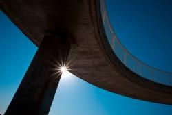 Cross the bridge.