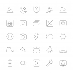 Camera Function Icon Set 1 - Ultra Thin Line Series