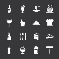 Restaurant Icons - White Series | EPS10