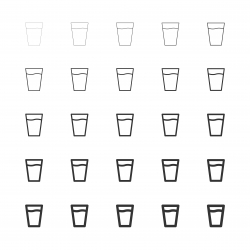 Glass of Water Icon - Multi Line Series