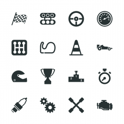 Motor Racing Silhouette Icons
