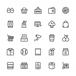 Retail Store Icons - Line Series