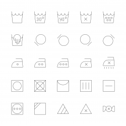 Laundry Sign Icons - Ultra Thin Line Series