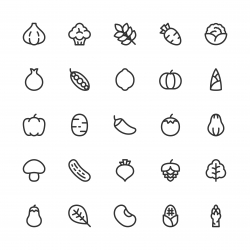 Vegetable Icons - Line Series