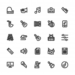 Musical Equipment Icons - Bold Line Series
