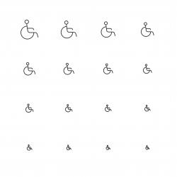 Handicap Sign Icons - Multi Scale Line Series