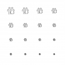 Human Sign Icons - Multi Scale Line Series