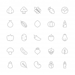 Vegetable Icons - Ultra Thin Line Series