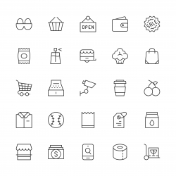 Retail Store Icons - Thin Line Series