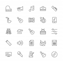 Musical Equipment Icons - Thin Line Series