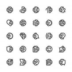 Brain with Basic Icons - Bold Line Series