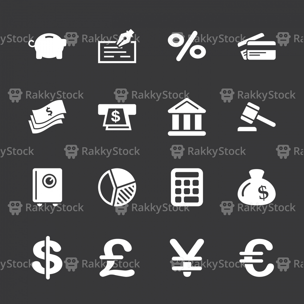 Finance and Banking Icons - White Series | EPS10
