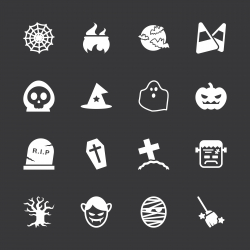 Halloween Icons - White Series | EPS10
