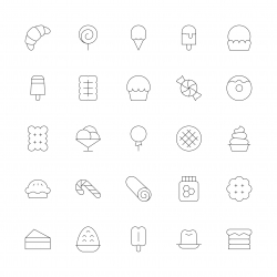 Dessert Icons - Ultra Thin Line Series