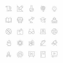 Education Icons - Ultra Thin Line Series