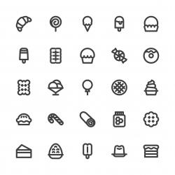 Dessert Icons - Bold Line Series