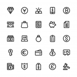 Financial Item Icons - Bold Line Series