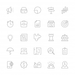 Business Strategy Icons - Ultra Thin Line Series