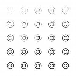 Commercial At Sign Icons - Multi Line Series
