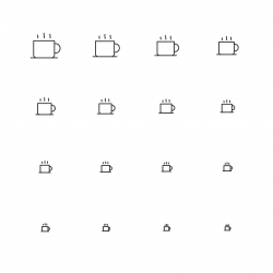 Hot Coffee Icons - Multi Scale Line Series