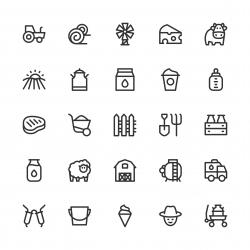 Dairy Farm Icons - Line Series